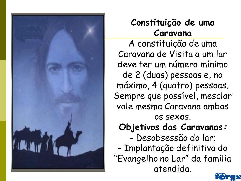 Constituição de uma Caravana A constituição de uma Caravana de Visita a um lar deve ter um número mínimo de 2 (duas) pessoas e, no máximo, 4 (quatro)