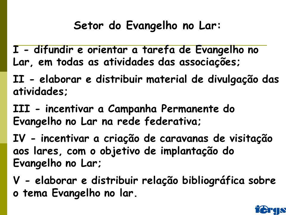 I - difundir e orientar a tarefa de Evangelho no Lar, em todas as atividades das associações; II - elaborar e distribuir material de divulgação das at