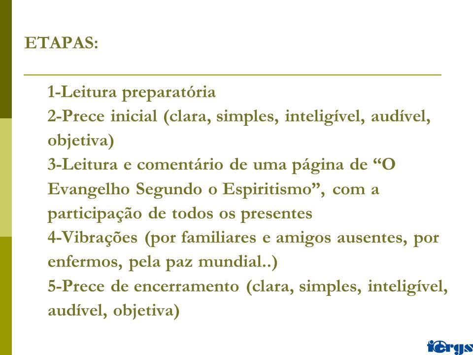 """ETAPAS: 1-Leitura preparatória 2-Prece inicial (clara, simples, inteligível, audível, objetiva) 3-Leitura e comentário de uma página de """"O Evangelho S"""
