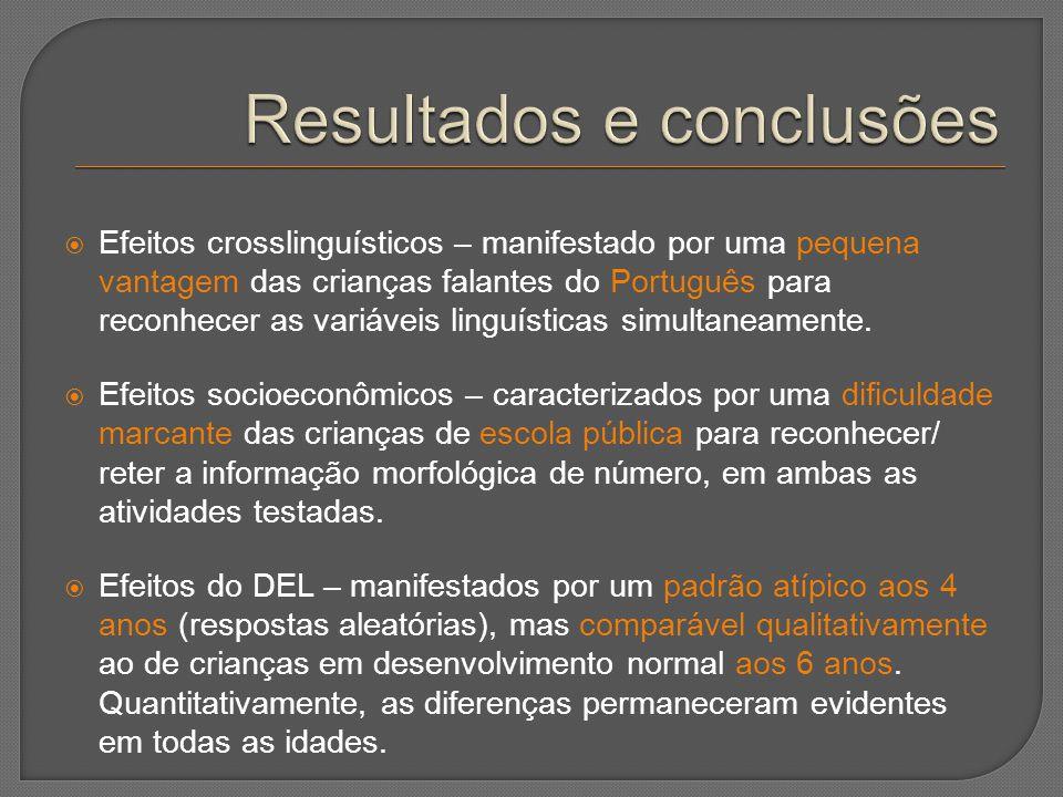  Efeitos crosslinguísticos – manifestado por uma pequena vantagem das crianças falantes do Português para reconhecer as variáveis linguísticas simult