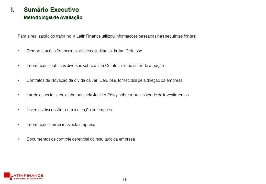 11 Para a realização do trabalho, a LatinFinance utilizou informações baseadas nas seguintes fontes: Demonstrações financeiras públicas auditadas da J