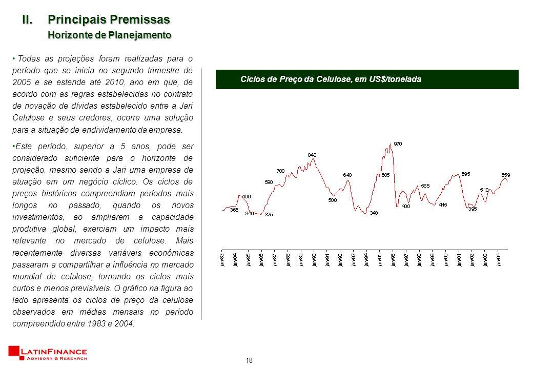18 II.Principais Premissas Horizonte de Planejamento Todas as projeções foram realizadas para o período que se inicia no segundo trimestre de 2005 e s