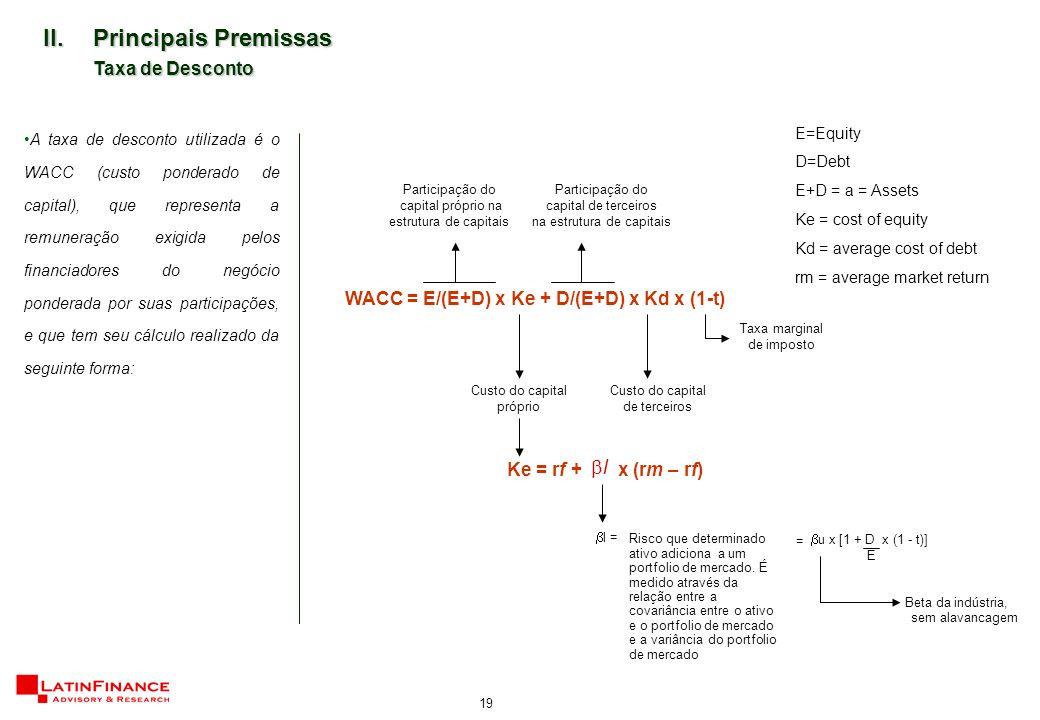 19 II.Principais Premissas Taxa de Desconto A taxa de desconto utilizada é o WACC (custo ponderado de capital), que representa a remuneração exigida pelos financiadores do negócio ponderada por suas participações, e que tem seu cálculo realizado da seguinte forma: WACC = E/(E+D) x Ke + D/(E+D) x Kd x (1-t) E=Equity D=Debt E+D = a = Assets Ke = cost of equity Kd = average cost of debt rm = average market return Custo do capital próprio Custo do capital de terceiros Taxa marginal de imposto Participação do capital próprio na estrutura de capitais Participação do capital de terceiros na estrutura de capitais  l = Beta da indústria, sem alavancagem =  u x [1 + D x (1 - t)] E Ke = rf + x (rm – rf) ll Risco que determinado ativo adiciona a um portfolio de mercado.