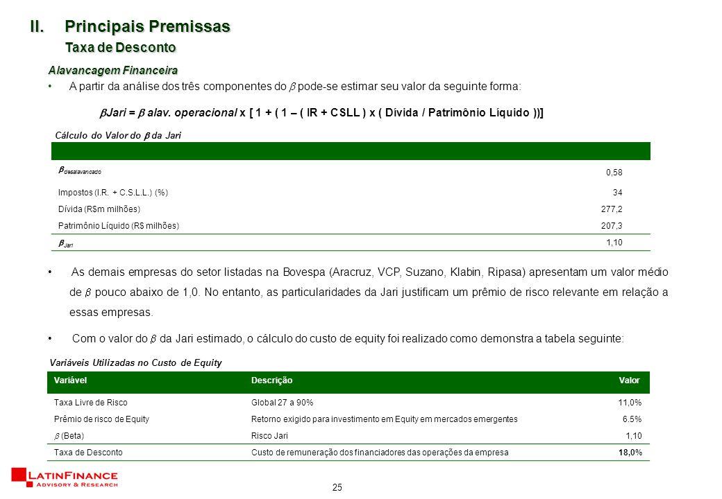 25 II.Principais Premissas Taxa de Desconto Alavancagem Financeira A partir da análise dos três componentes do  pode-se estimar seu valor da seguinte forma:  Jari =  alav.