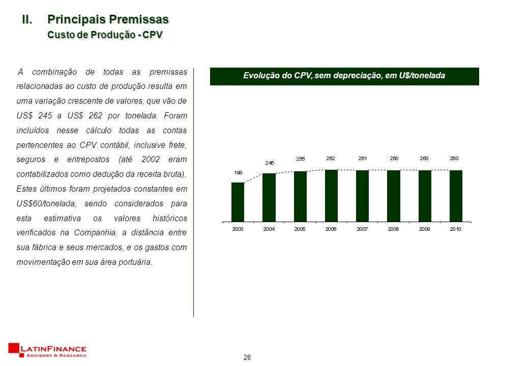 28 II.Principais Premissas Custo de Produção - CPV A combinação de todas as premissas relacionadas ao custo de produção resulta em uma variação crescente de valores, que vão de US$ 245 a US$ 262 por tonelada.