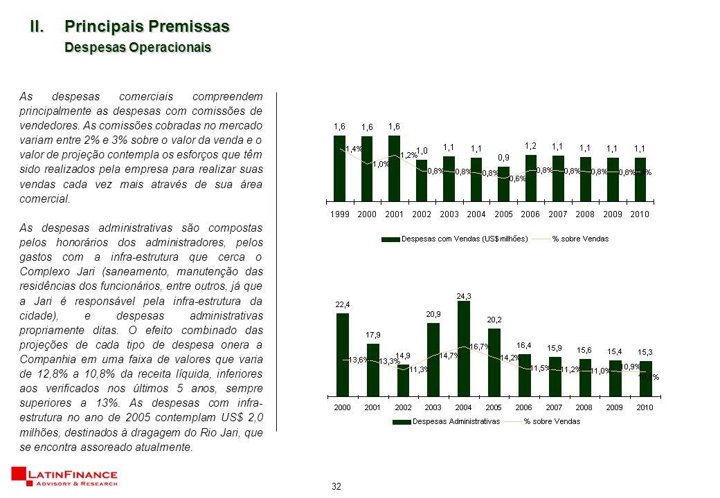 32 II.Principais Premissas Despesas Operacionais As despesas comerciais compreendem principalmente as despesas com comissões de vendedores.