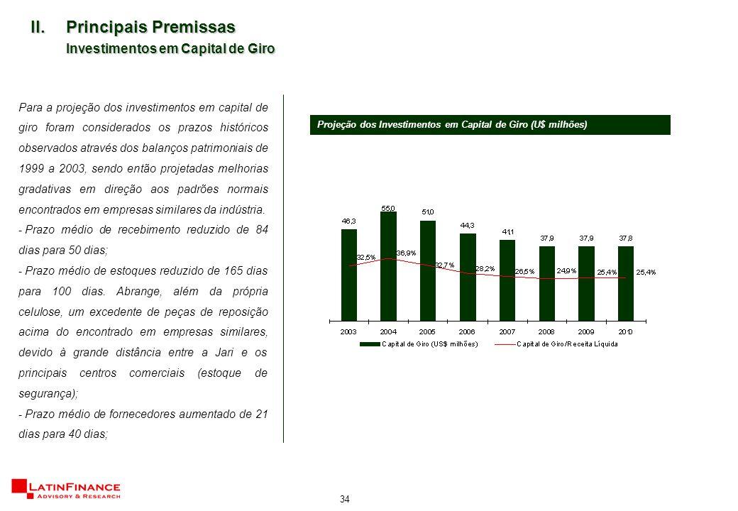 34 II.Principais Premissas Investimentos em Capital de Giro Para a projeção dos investimentos em capital de giro foram considerados os prazos históricos observados através dos balanços patrimoniais de 1999 a 2003, sendo então projetadas melhorias gradativas em direção aos padrões normais encontrados em empresas similares da indústria.