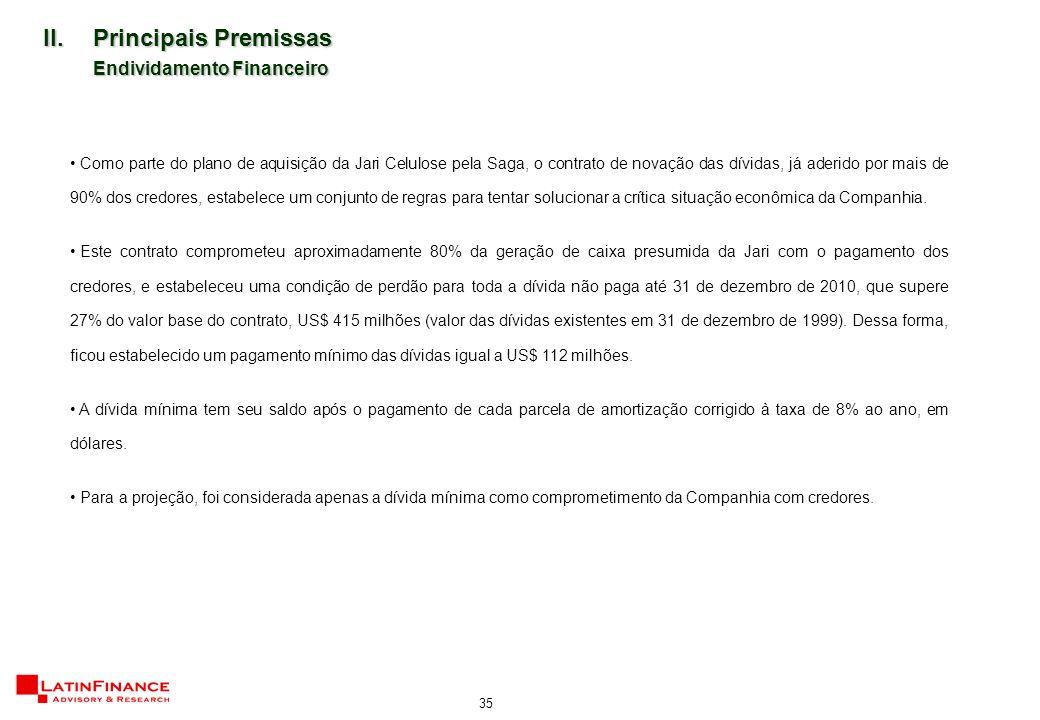 35 II.Principais Premissas Endividamento Financeiro Como parte do plano de aquisição da Jari Celulose pela Saga, o contrato de novação das dívidas, já