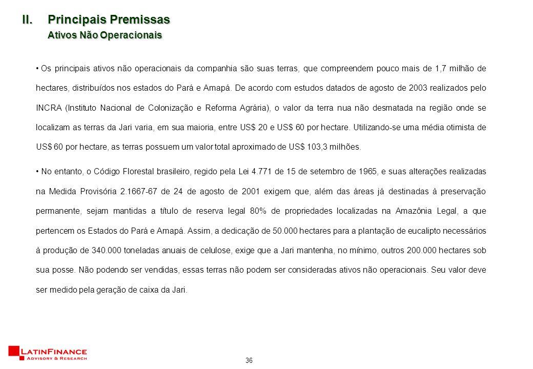 36 II.Principais Premissas Ativos Não Operacionais Os principais ativos não operacionais da companhia são suas terras, que compreendem pouco mais de 1,7 milhão de hectares, distribuídos nos estados do Pará e Amapá.