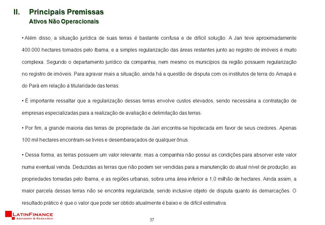 37 II.Principais Premissas Ativos Não Operacionais Além disso, a situação jurídica de suas terras é bastante confusa e de difícil solução.