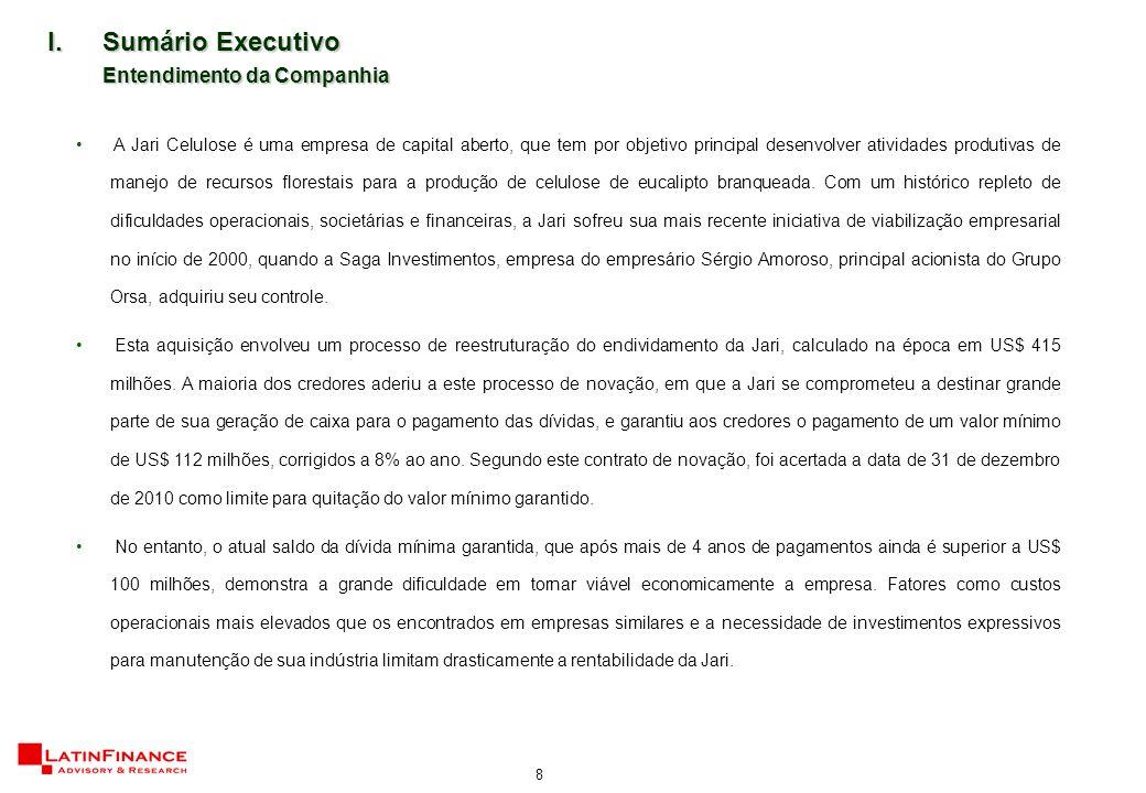 8 A Jari Celulose é uma empresa de capital aberto, que tem por objetivo principal desenvolver atividades produtivas de manejo de recursos florestais para a produção de celulose de eucalipto branqueada.