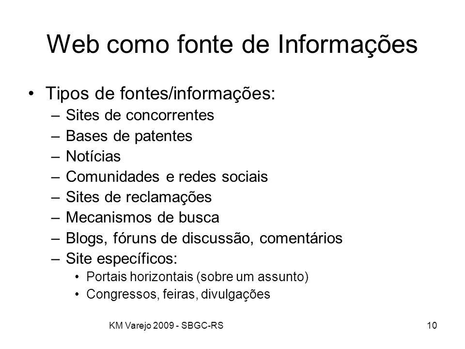 KM Varejo 2009 - SBGC-RS10 Web como fonte de Informações Tipos de fontes/informações: –Sites de concorrentes –Bases de patentes –Notícias –Comunidades