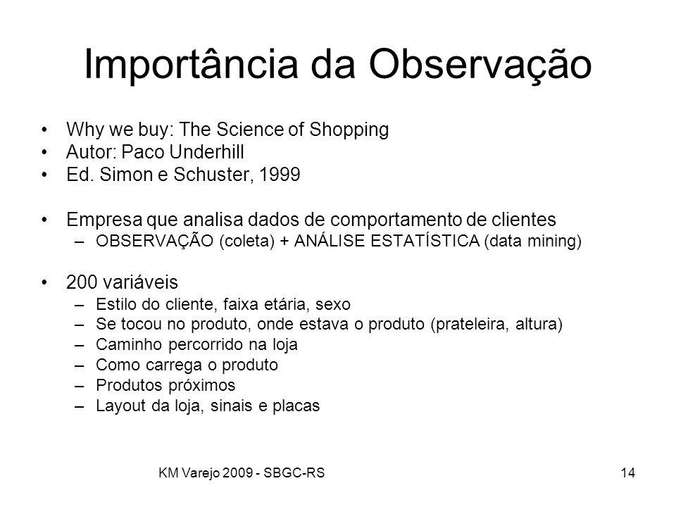 KM Varejo 2009 - SBGC-RS14 Importância da Observação Why we buy: The Science of Shopping Autor: Paco Underhill Ed. Simon e Schuster, 1999 Empresa que