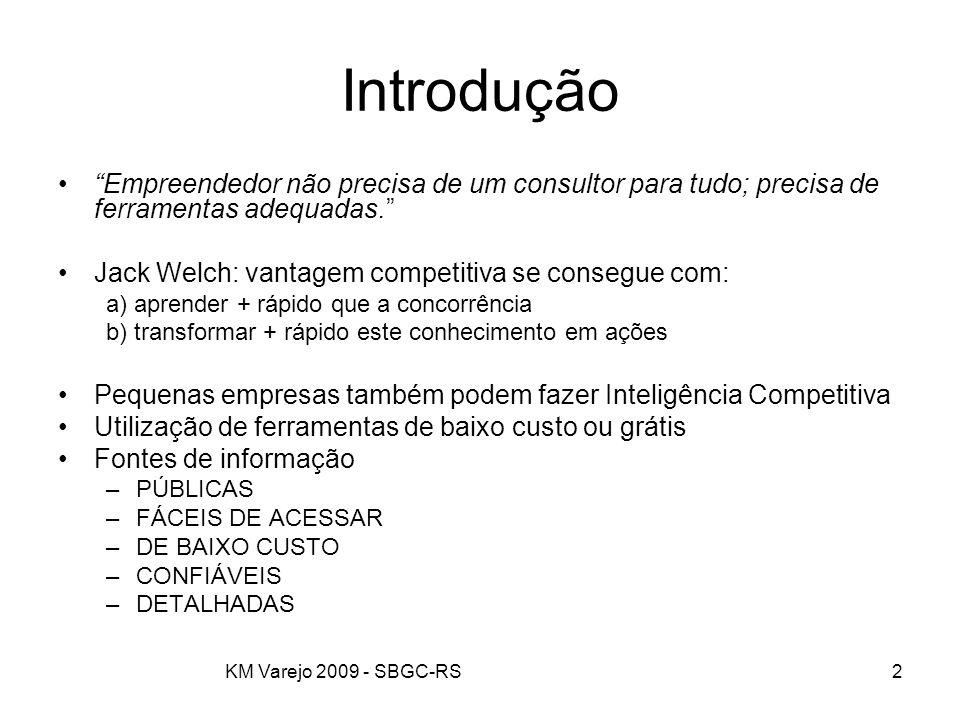"""KM Varejo 2009 - SBGC-RS2 Introdução """"Empreendedor não precisa de um consultor para tudo; precisa de ferramentas adequadas."""" Jack Welch: vantagem comp"""