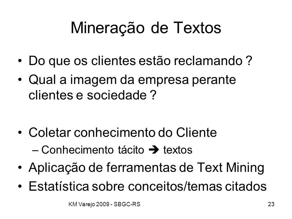 KM Varejo 2009 - SBGC-RS23 Mineração de Textos Do que os clientes estão reclamando ? Qual a imagem da empresa perante clientes e sociedade ? Coletar c