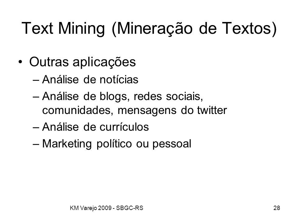 KM Varejo 2009 - SBGC-RS28 Text Mining (Mineração de Textos) Outras aplicações –Análise de notícias –Análise de blogs, redes sociais, comunidades, men