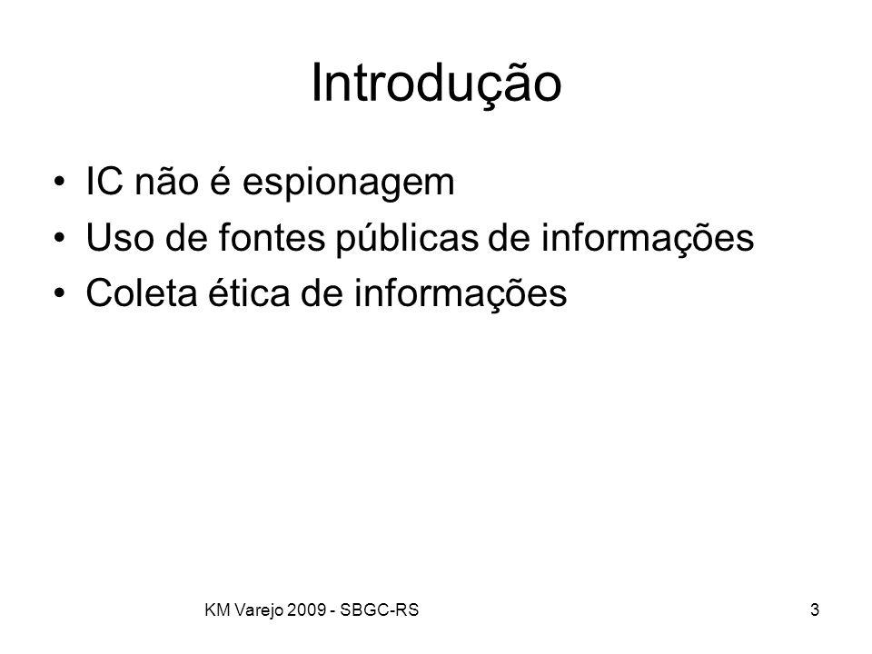 KM Varejo 2009 - SBGC-RS3 Introdução IC não é espionagem Uso de fontes públicas de informações Coleta ética de informações