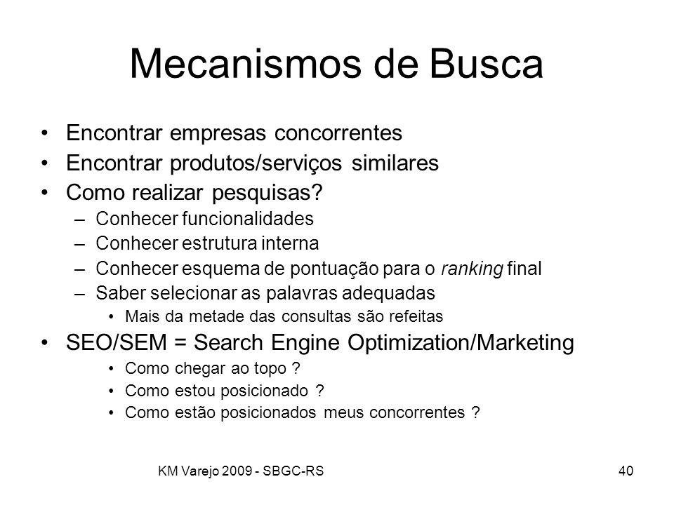 KM Varejo 2009 - SBGC-RS40 Mecanismos de Busca Encontrar empresas concorrentes Encontrar produtos/serviços similares Como realizar pesquisas? –Conhece