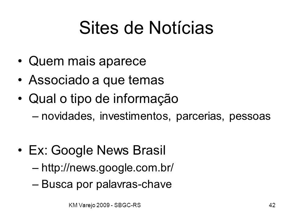KM Varejo 2009 - SBGC-RS42 Sites de Notícias Quem mais aparece Associado a que temas Qual o tipo de informação –novidades, investimentos, parcerias, p