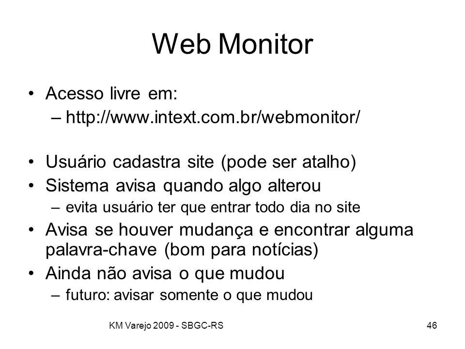 KM Varejo 2009 - SBGC-RS46 Web Monitor Acesso livre em: –http://www.intext.com.br/webmonitor/ Usuário cadastra site (pode ser atalho) Sistema avisa qu
