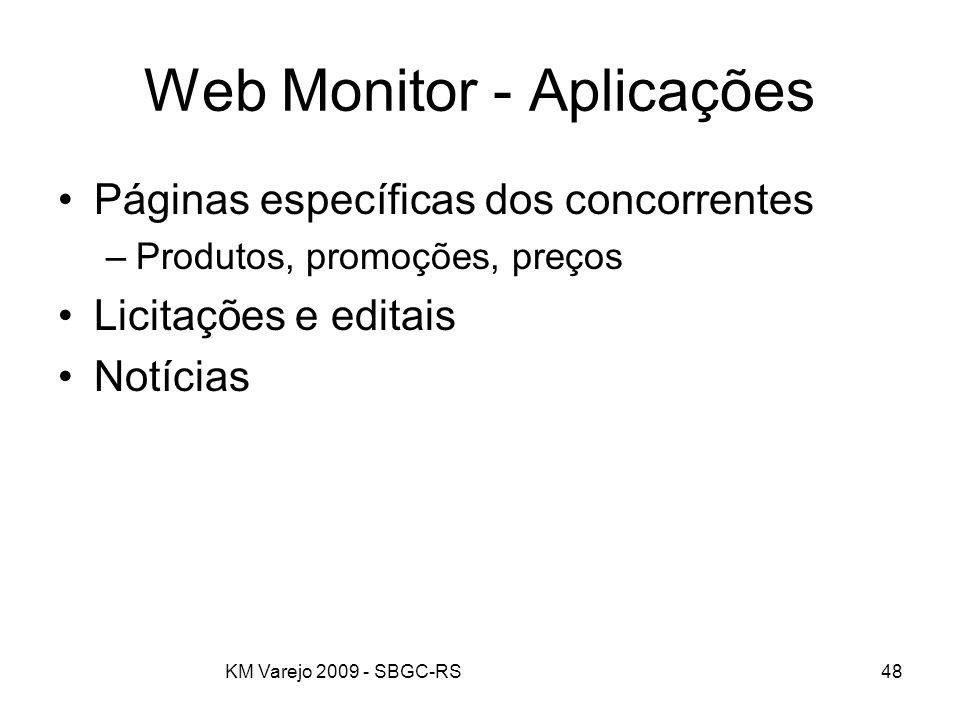 KM Varejo 2009 - SBGC-RS48 Web Monitor - Aplicações Páginas específicas dos concorrentes –Produtos, promoções, preços Licitações e editais Notícias