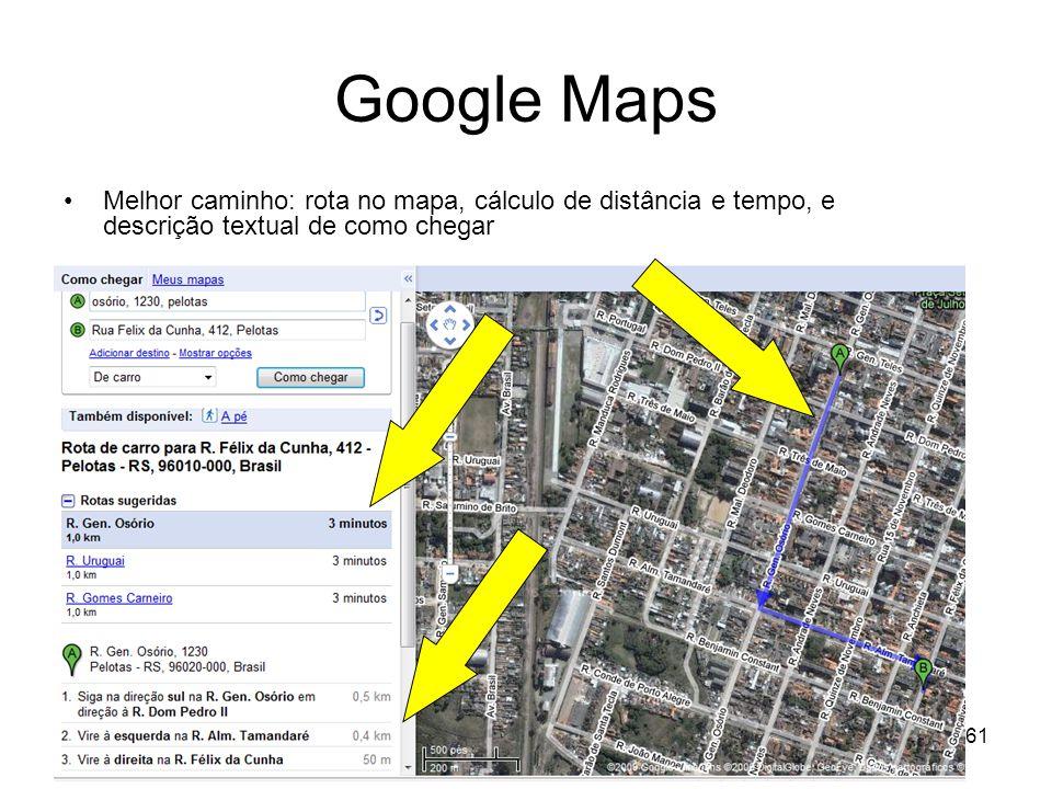 KM Varejo 2009 - SBGC-RS61 Google Maps Melhor caminho: rota no mapa, cálculo de distância e tempo, e descrição textual de como chegar