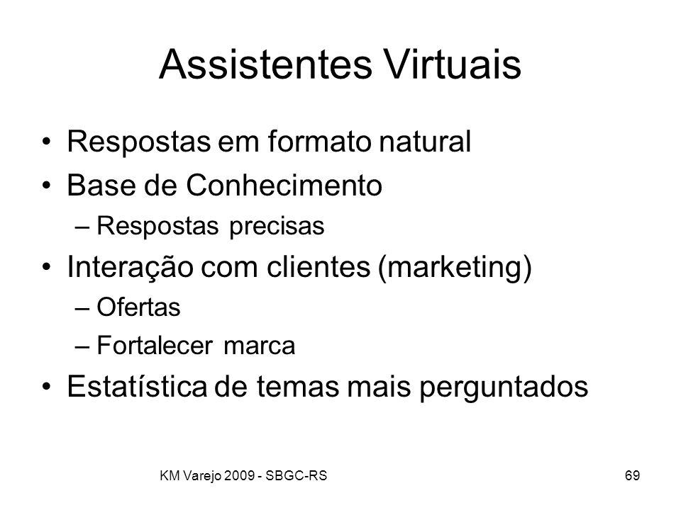 KM Varejo 2009 - SBGC-RS69 Assistentes Virtuais Respostas em formato natural Base de Conhecimento –Respostas precisas Interação com clientes (marketin