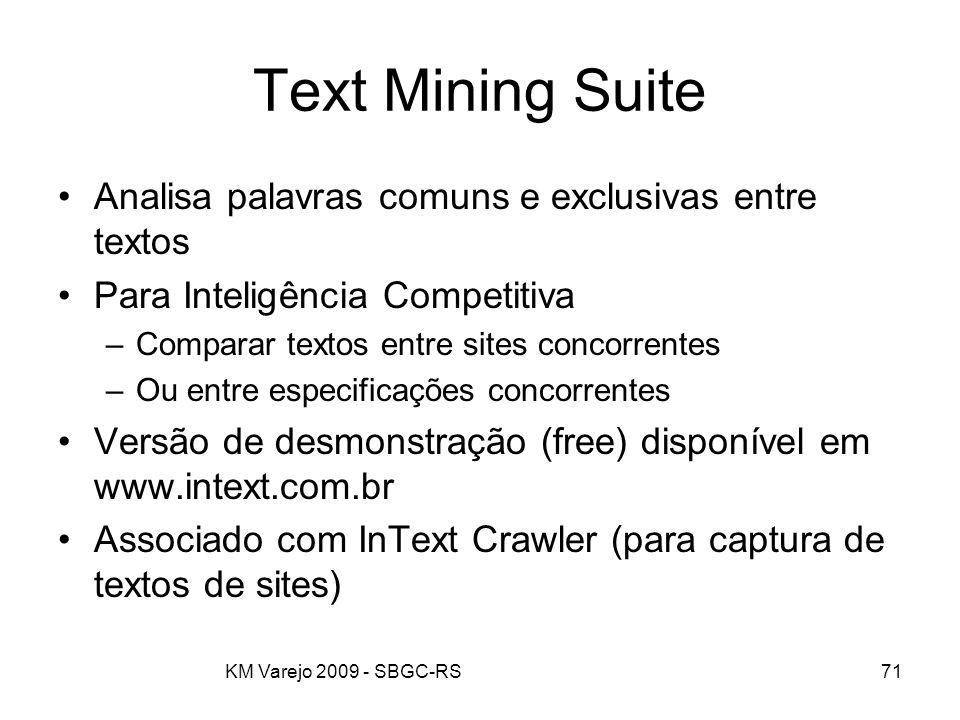 KM Varejo 2009 - SBGC-RS71 Text Mining Suite Analisa palavras comuns e exclusivas entre textos Para Inteligência Competitiva –Comparar textos entre si