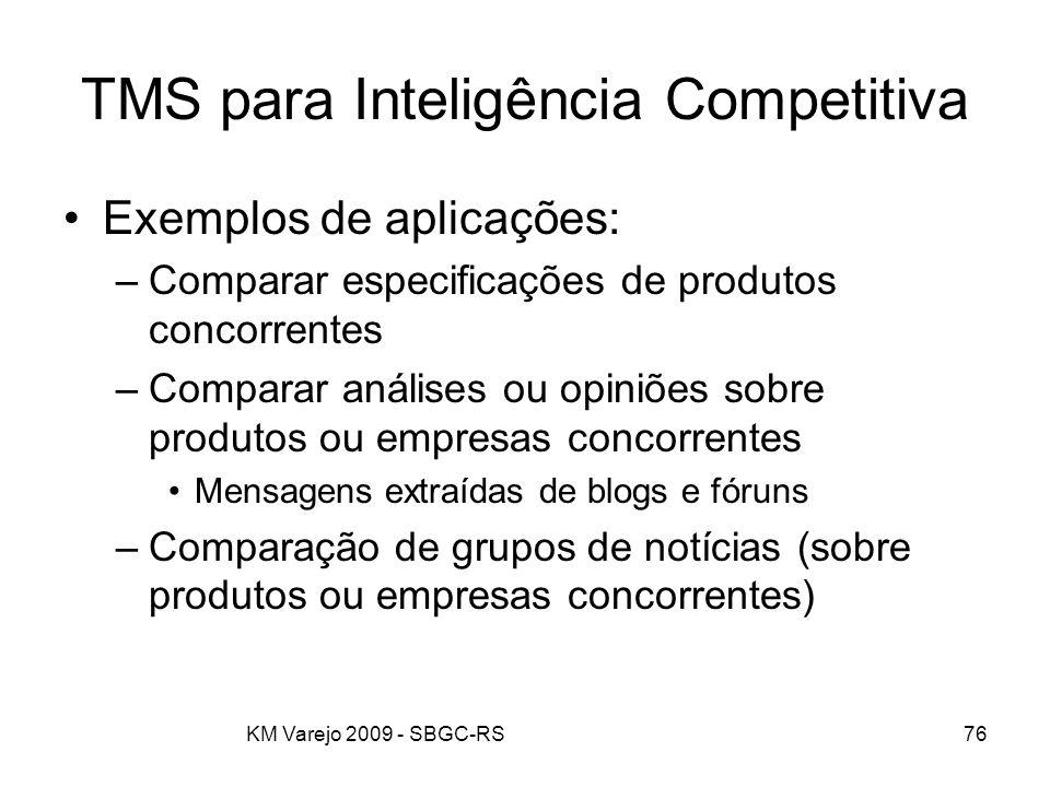 KM Varejo 2009 - SBGC-RS76 TMS para Inteligência Competitiva Exemplos de aplicações: –Comparar especificações de produtos concorrentes –Comparar análi