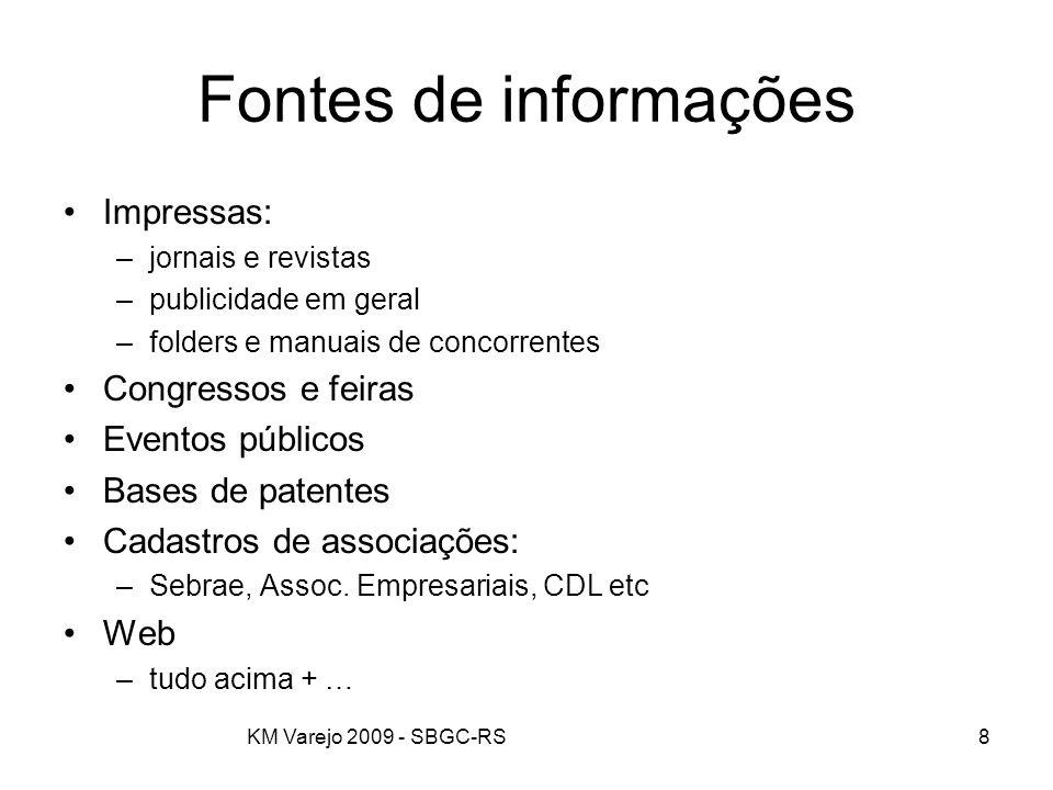 KM Varejo 2009 - SBGC-RS8 Fontes de informações Impressas: –jornais e revistas –publicidade em geral –folders e manuais de concorrentes Congressos e f