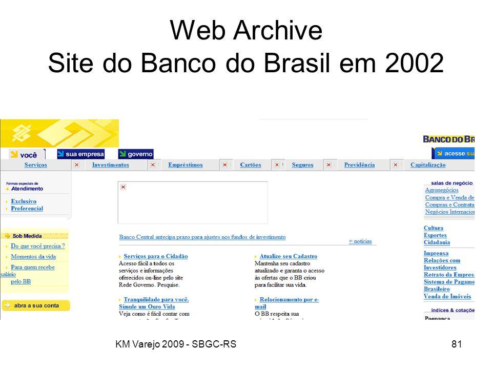 KM Varejo 2009 - SBGC-RS81 Web Archive Site do Banco do Brasil em 2002