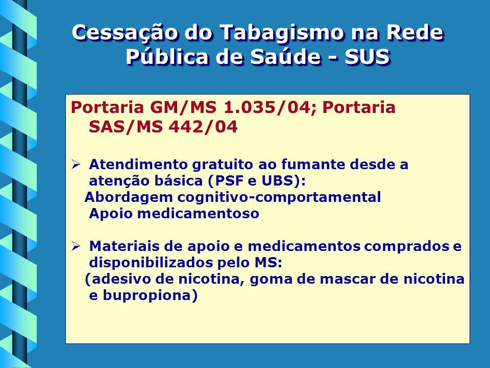 Cessação do Tabagismo na Rede Pública de Saúde - SUS Portaria GM/MS 1.035/04; Portaria SAS/MS 442/04   Atendimento gratuito ao fumante desde a atenç