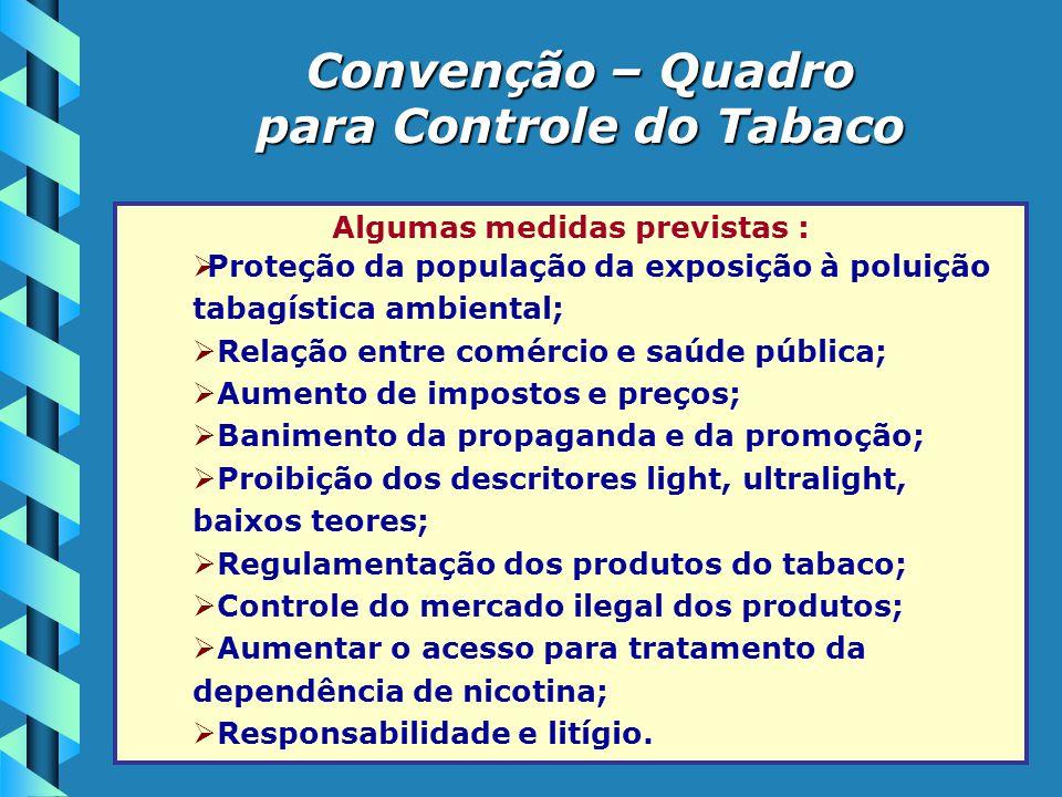 Algumas medidas previstas :  Proteção da população da exposição à poluição tabagística ambiental;  Relação entre comércio e saúde pública;  Aumento