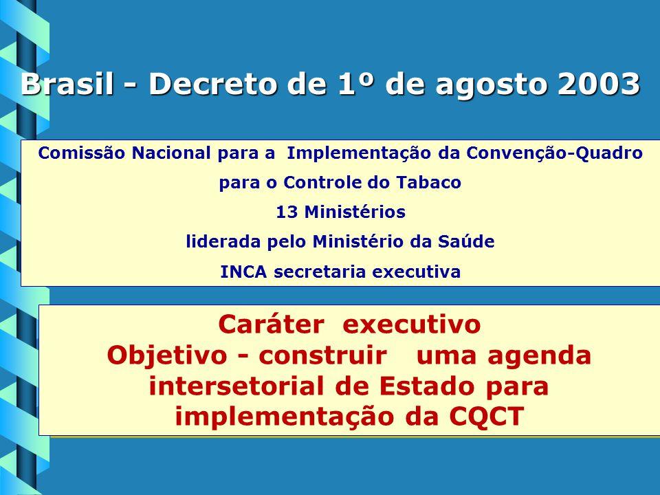 Comissão Nacional para a Implementação da Convenção-Quadro para o Controle do Tabaco 13 Ministérios liderada pelo Ministério da Saúde INCA secretaria