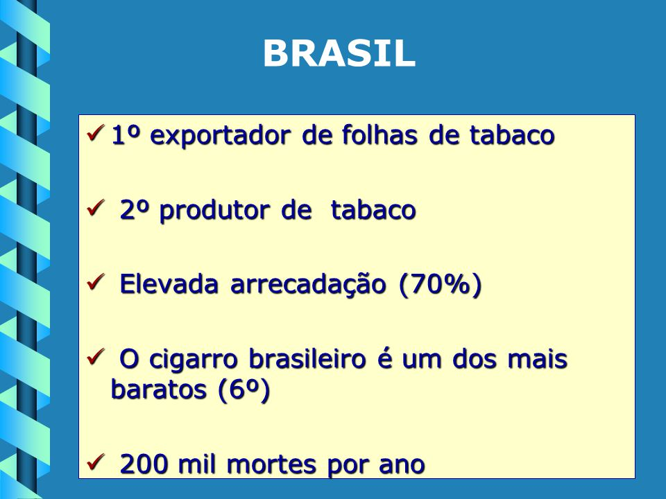 1º exportador de folhas de tabaco 1º exportador de folhas de tabaco 2º produtor de tabaco 2º produtor de tabaco Elevada arrecadação (70%) Elevada arre