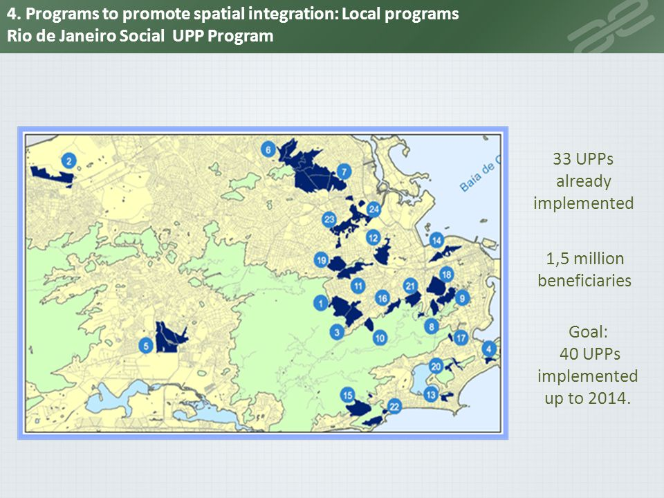 33 UPPs already implemented 1,5 million beneficiaries Goal: 40 UPPs implemented up to 2014. 4. Programs to promote spatial integration: Local programs