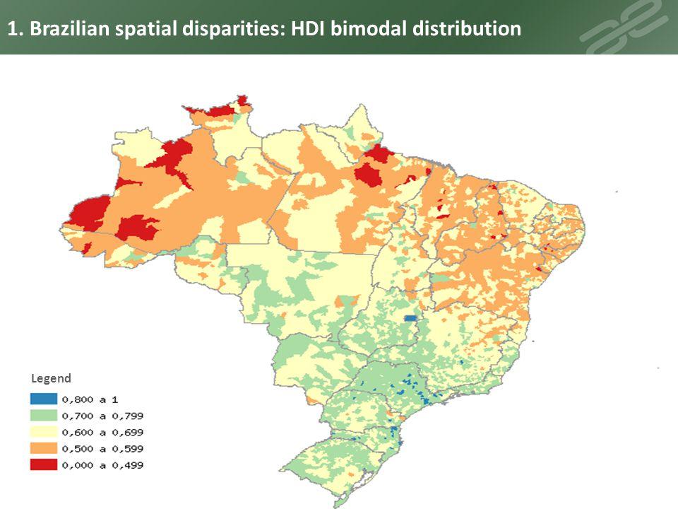 Legend 1. Brazilian spatial disparities: HDI bimodal distribution