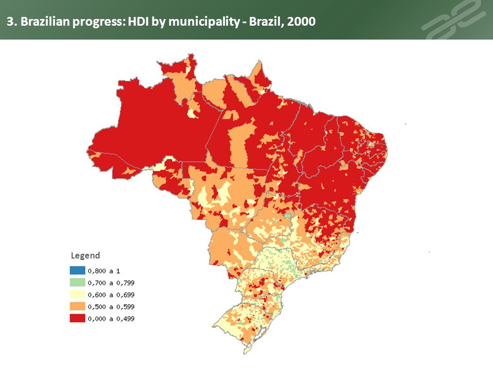 Legend 3. Brazilian progress: HDI by municipality - Brazil, 2010