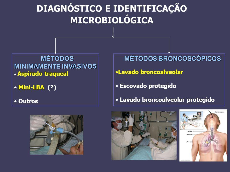 DIAGNÓSTICO E IDENTIFICAÇÃO MICROBIOLÓGICA MÉTODOS MINIMAMENTE INVASIVOS Aspirado traqueal Mini-LBA (?) Outros MÉTODOS BRONCOSCÓPICOS Lavado broncoalv