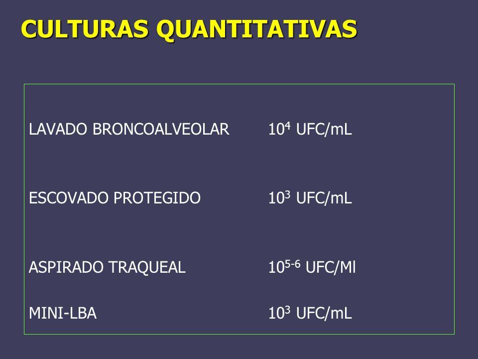 CULTURAS QUANTITATIVAS LAVADO BRONCOALVEOLAR10 4 UFC/mL ESCOVADO PROTEGIDO 10 3 UFC/mL ASPIRADO TRAQUEAL10 5-6 UFC/Ml MINI-LBA10 3 UFC/mL