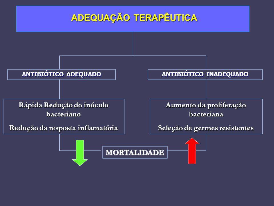 ADEQUAÇÃO TERAPÊUTICA ADEQUAÇÃO TERAPÊUTICA ANTIBIÓTICO ADEQUADO Rápida Redução do inóculo bacteriano Redução da resposta inflamatória ANTIBIÓTICO INA
