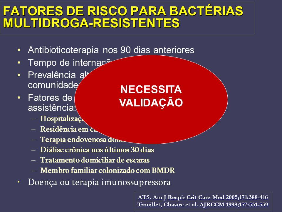 FATORES DE RISCO PARA BACTÉRIAS MULTIDROGA-RESISTENTES Antibioticoterapia nos 90 dias anteriores Tempo de internação atual > 5 dias Prevalência alta d