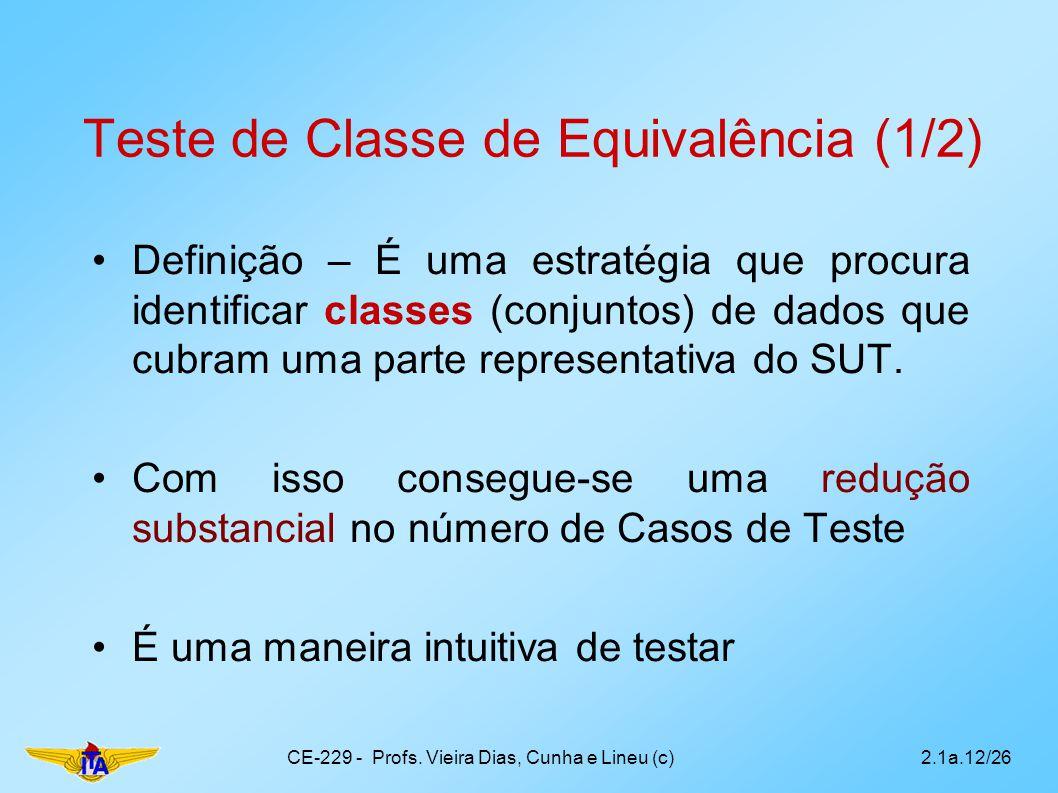 Teste de Classe de Equivalência (1/2) Definição – É uma estratégia que procura identificar classes (conjuntos) de dados que cubram uma parte represent