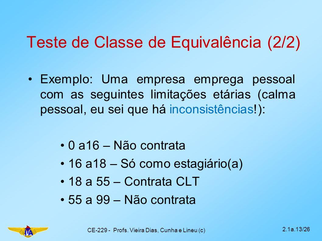 Teste de Classe de Equivalência (2/2) Exemplo: Uma empresa emprega pessoal com as seguintes limitações etárias (calma pessoal, eu sei que há inconsist