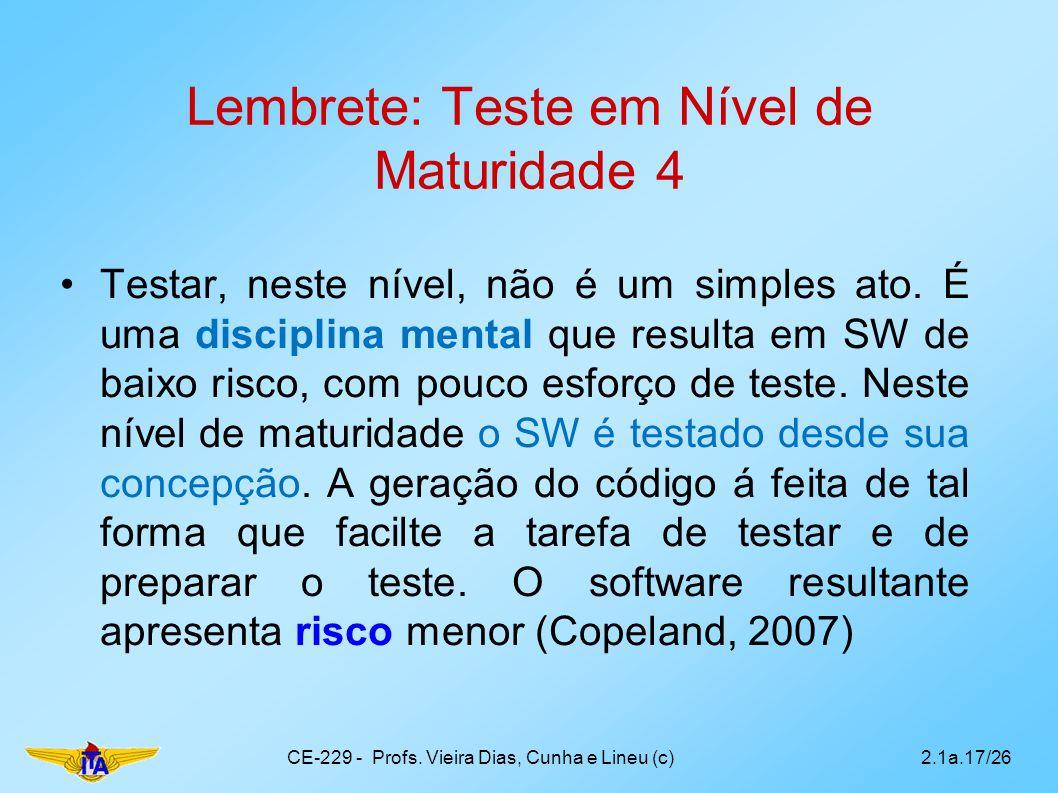 Lembrete: Teste em Nível de Maturidade 4 Testar, neste nível, não é um simples ato. É uma disciplina mental que resulta em SW de baixo risco, com pouc