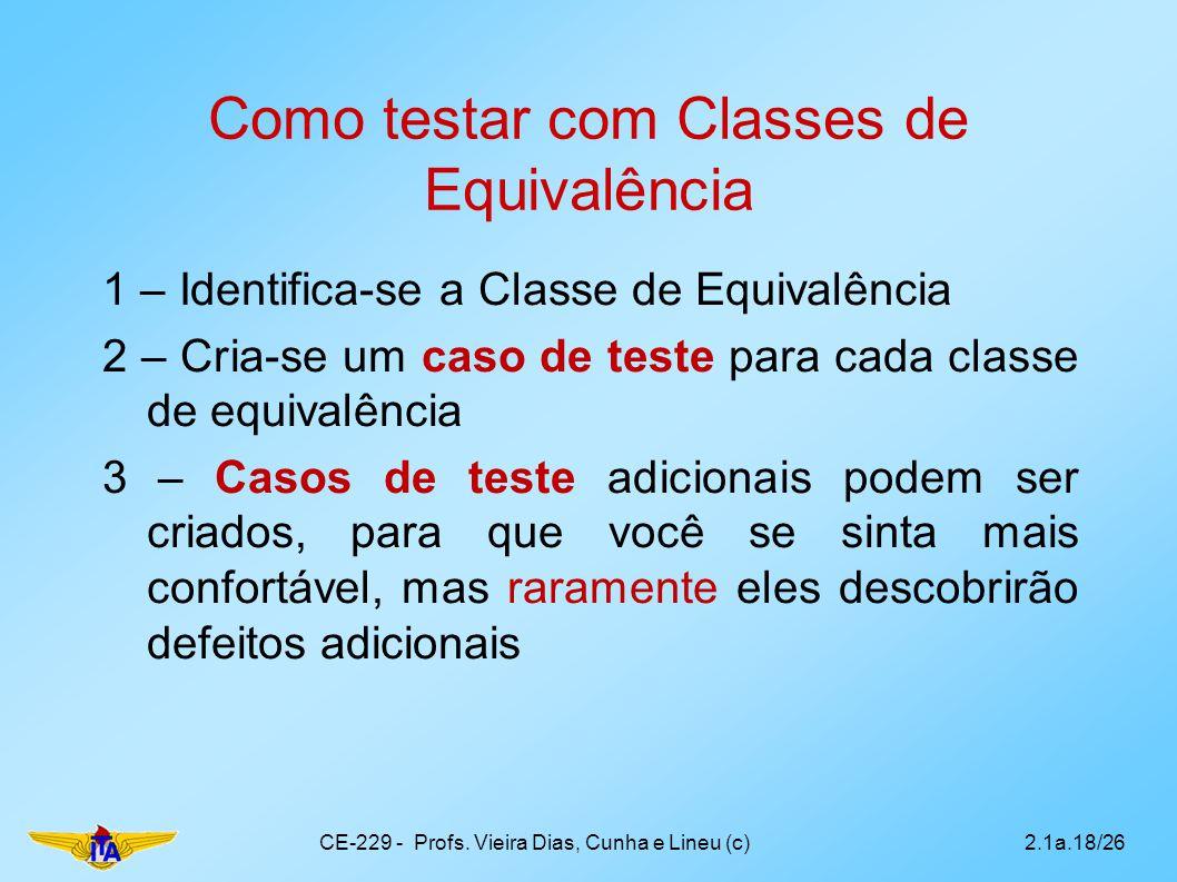 Como testar com Classes de Equivalência 1 – Identifica-se a Classe de Equivalência 2 – Cria-se um caso de teste para cada classe de equivalência 3 – C