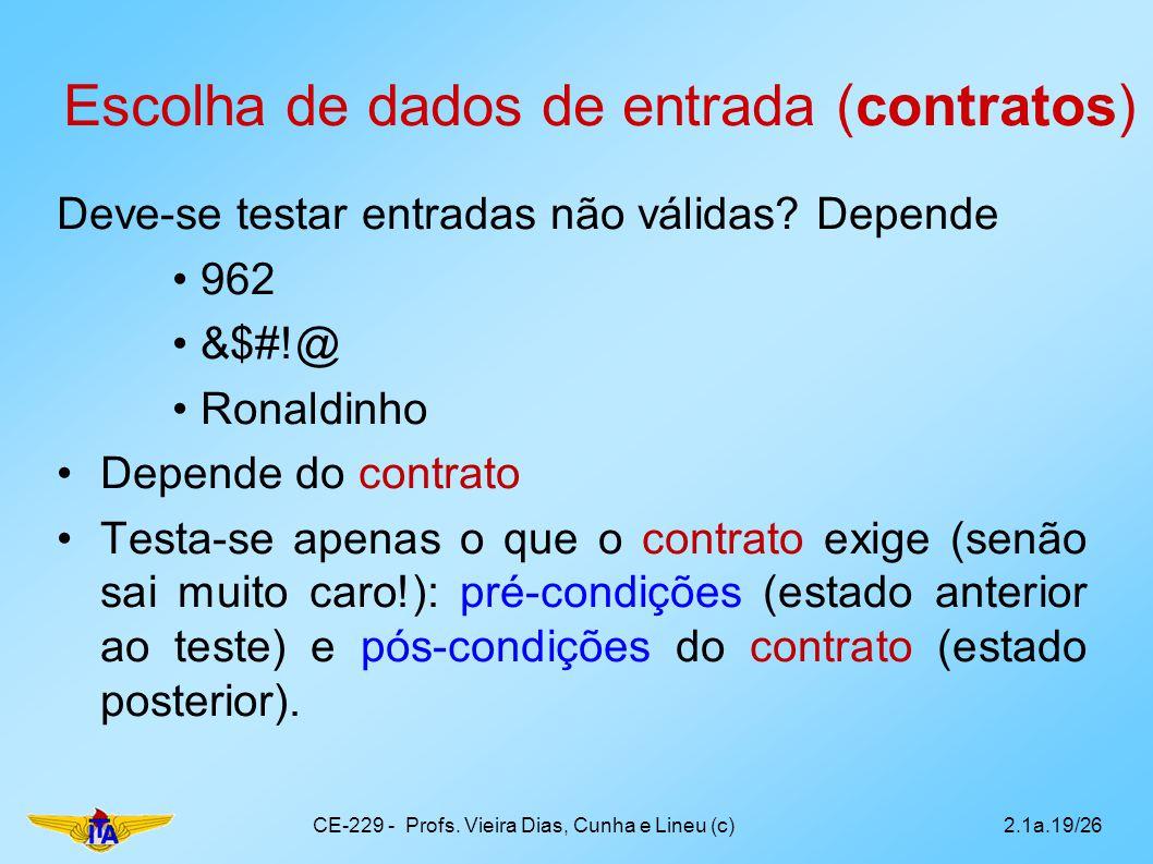 Escolha de dados de entrada (contratos) Deve-se testar entradas não válidas? Depende 962 &$#!@ Ronaldinho Depende do contrato Testa-se apenas o que o