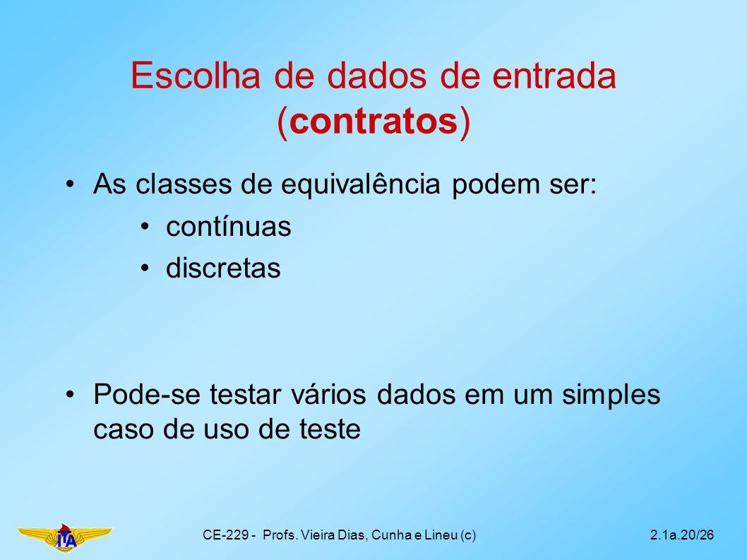 Escolha de dados de entrada (contratos) As classes de equivalência podem ser: contínuas discretas Pode-se testar vários dados em um simples caso de us