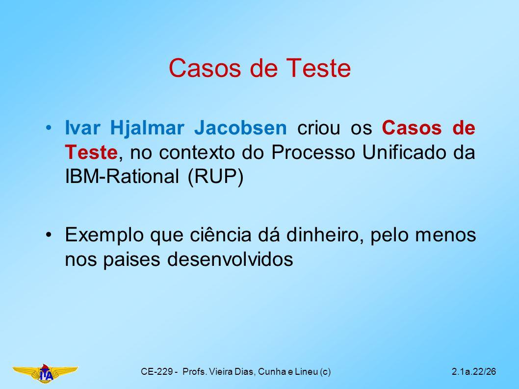 Casos de Teste Ivar Hjalmar Jacobsen criou os Casos de Teste, no contexto do Processo Unificado da IBM-Rational (RUP) Exemplo que ciência dá dinheiro,