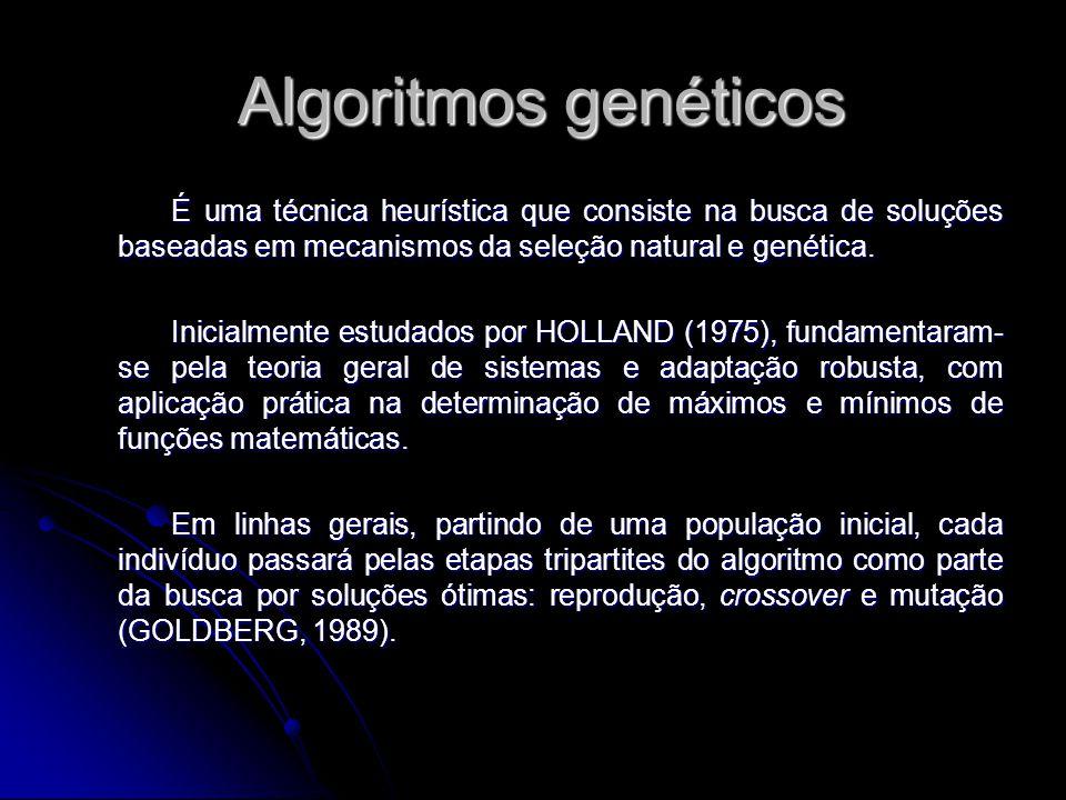 Algoritmos genéticos Algoritmos genéticos É uma técnica heurística que consiste na busca de soluções baseadas em mecanismos da seleção natural e genét